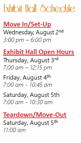 Exhibit Hall Schedule